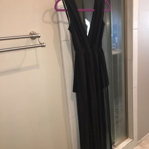 Black Romper with Sheer Cover